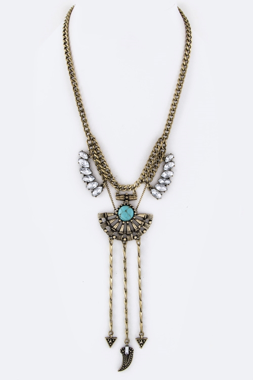Crystal Fringe Necklace - orangeshine.com
