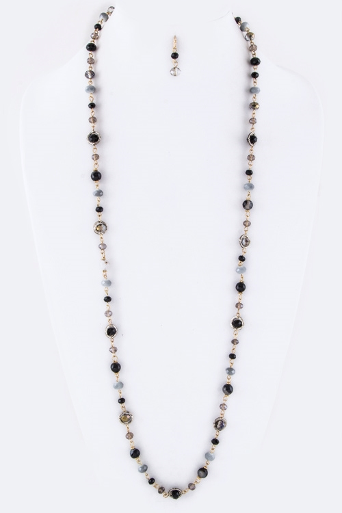Mix Beads Long Necklace Set - orangeshine.com