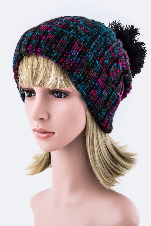 Mix Knit Pom Pom Beanie - orangeshine.com