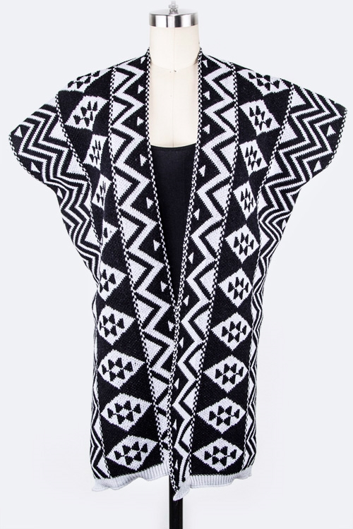 Tribal Pattern Knit Vest - orangeshine.com