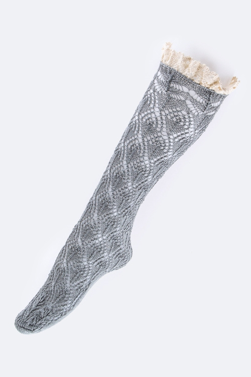 Lace Top Knitted Socks - orangeshine.com