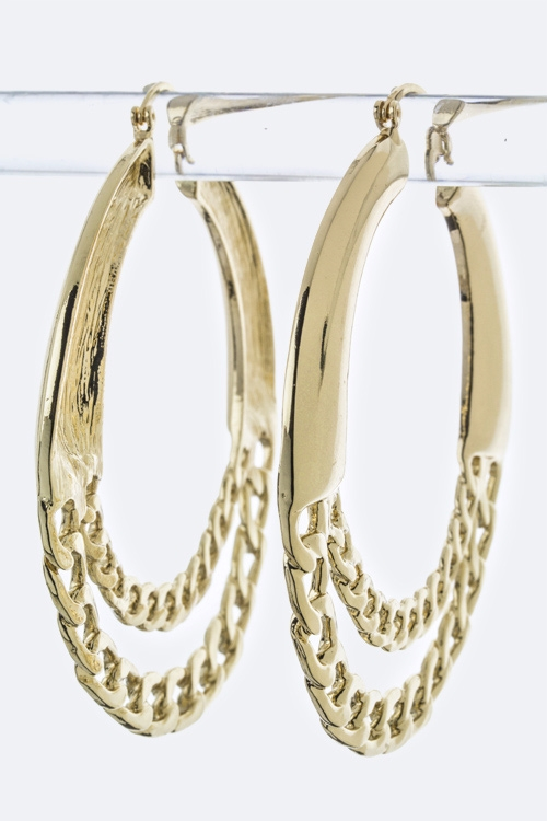 Layer Chian Hoop Earrings - orangeshine.com