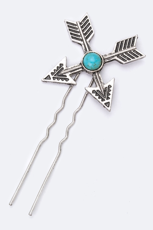 Turquoise Arrow Hair Pin - orangeshine.com