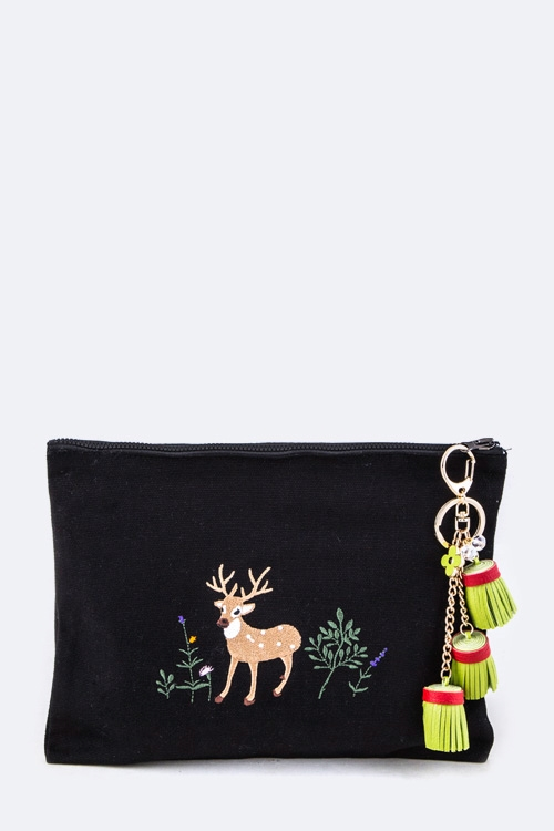 Reindeer Embroidery Pouch - orangeshine.com