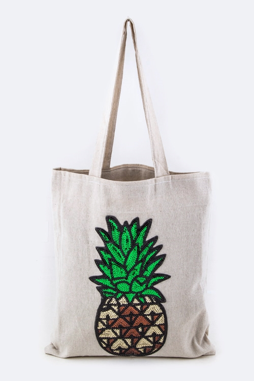 Sequins Pineapple Linen Tote - orangeshine.com