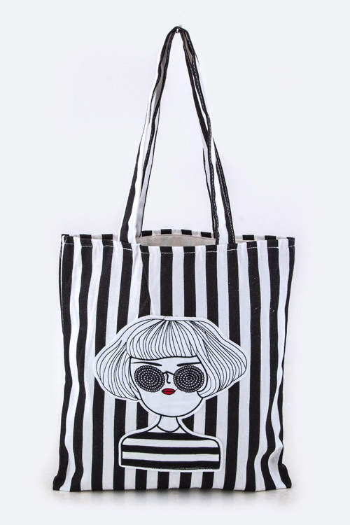 Sunglasses Girl Canvas Tote - orangeshine.com