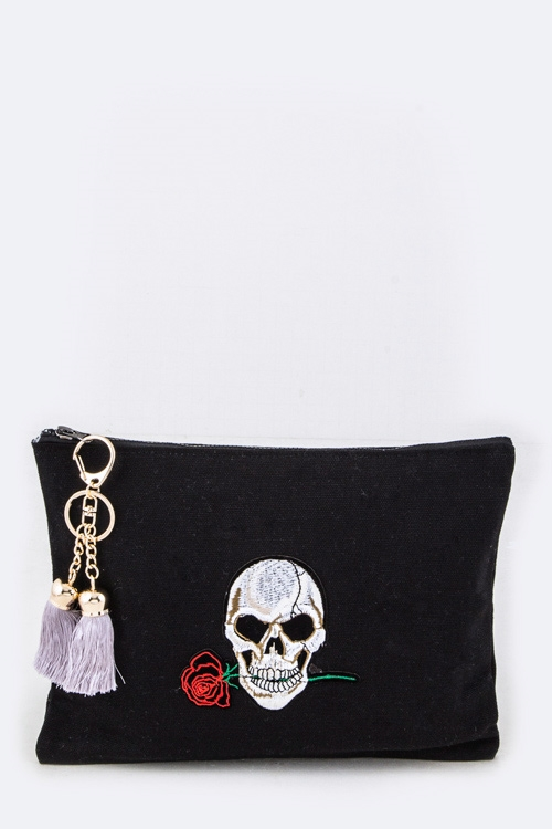 Skull with Rose Pouch - orangeshine.com