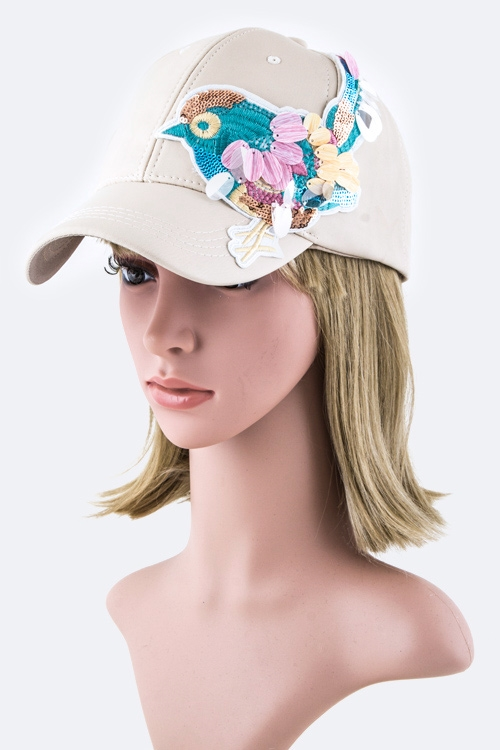 Sequins Bird Fashion Cap - orangeshine.com