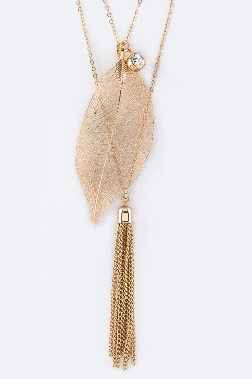 Leaf Tassel Necklace - orangeshine.com