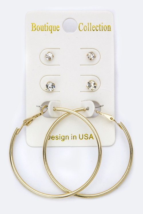 Mix Crystal Studs  Hoop Set - orangeshine.com