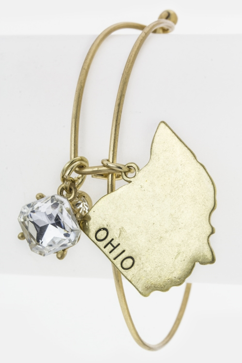 Ohio Map Charm Bangle - orangeshine.com