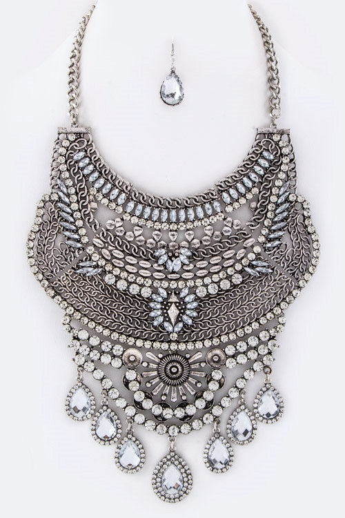 Mix Crystals Bib Necklace Set - orangeshine.com