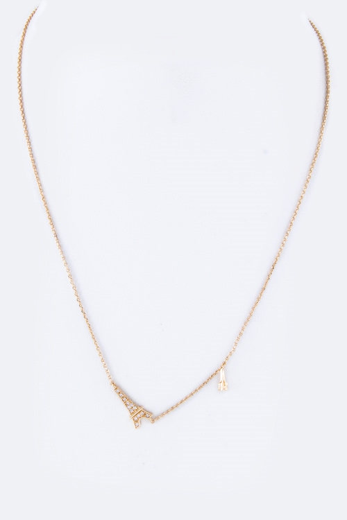 CZ Eiffel Tower Necklace - orangeshine.com