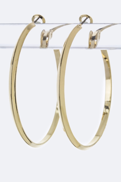 Metal Hoop Earrings - M - orangeshine.com