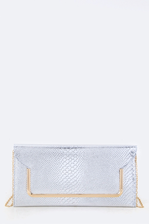 Snake Skin Embossed Clutch - orangeshine.com