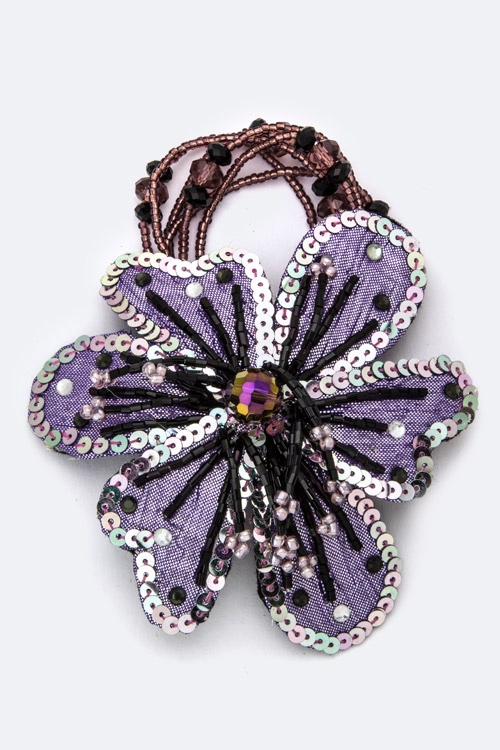 Bead  Sequins Flower Hair Tie - orangeshine.com