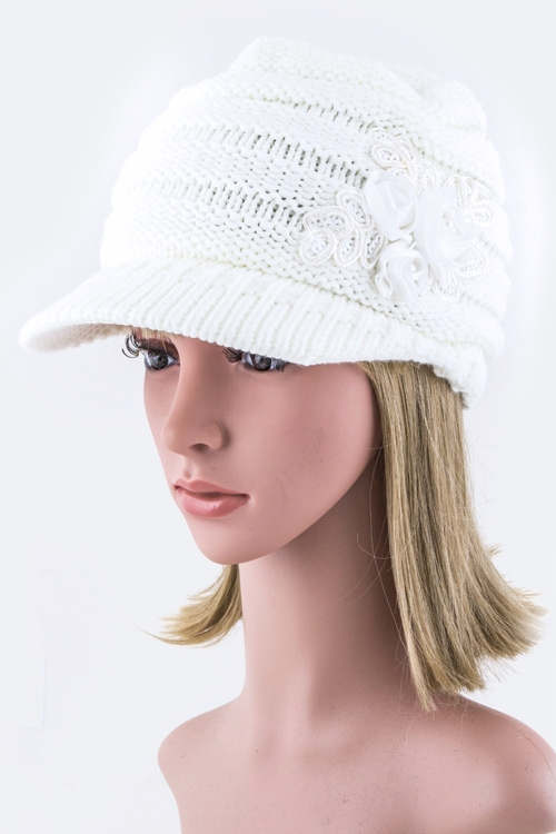 Sequins Flower Knit Cap - orangeshine.com