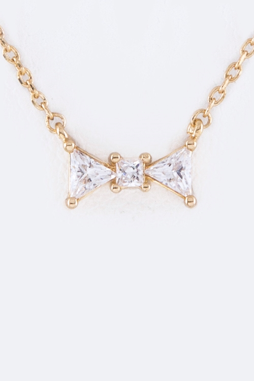 Petite CZ Bow Pendant Necklace - orangeshine.com