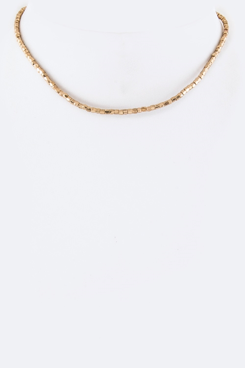 Metal Bead Choker Necklace - orangeshine.com