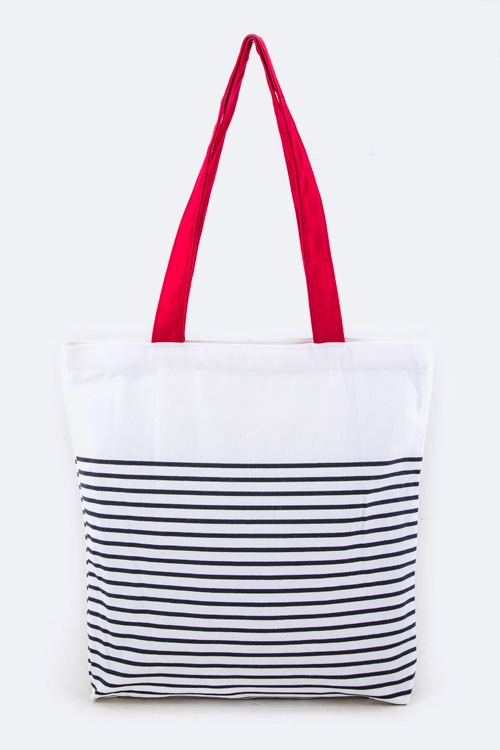 Stripe Fashion Tote - orangeshine.com