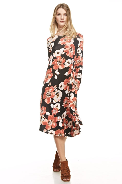 flared floral pocket dress - orangeshine.com