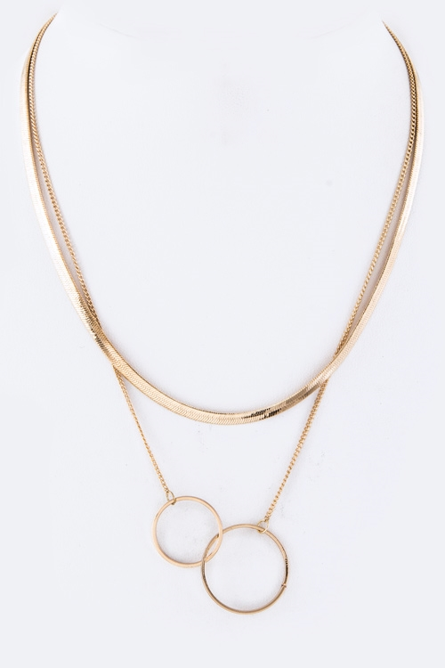 Linked Hoops Layer Necklace - orangeshine.com