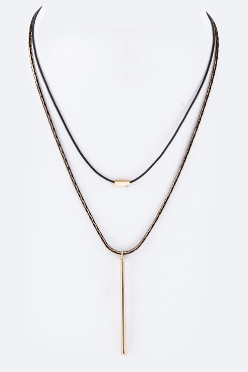 Metal Bar Pendant Necklace - orangeshine.com