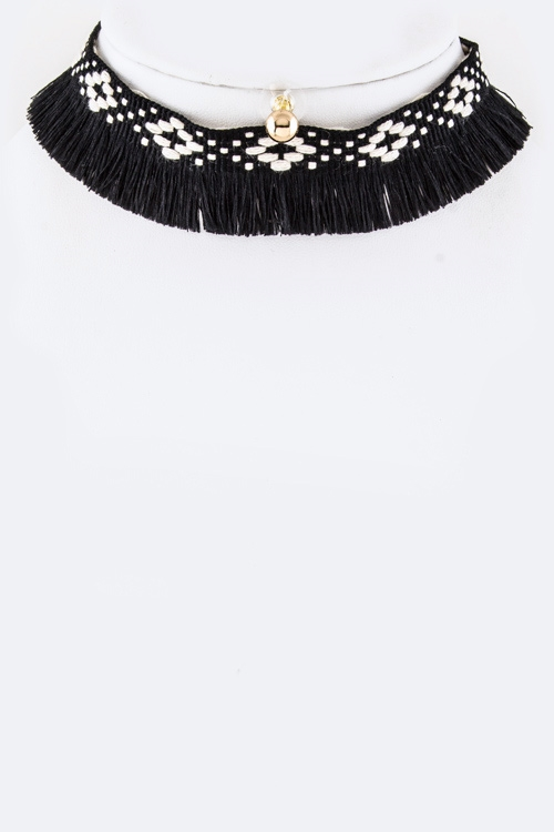 Tribal Fringe Choker Necklace  - orangeshine.com