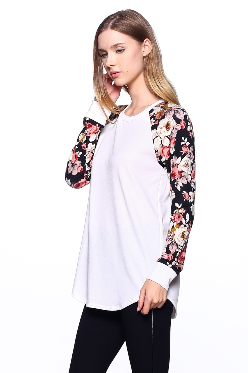 Floral Sleeves Sweater - orangeshine.com