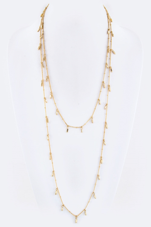 Fringe Crystal Nugget Necklace - orangeshine.com