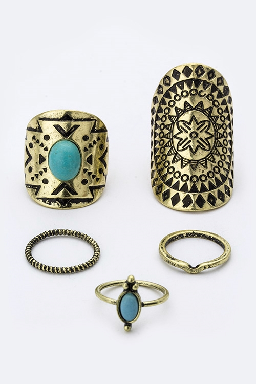 Tribal Design Rings Set - orangeshine.com
