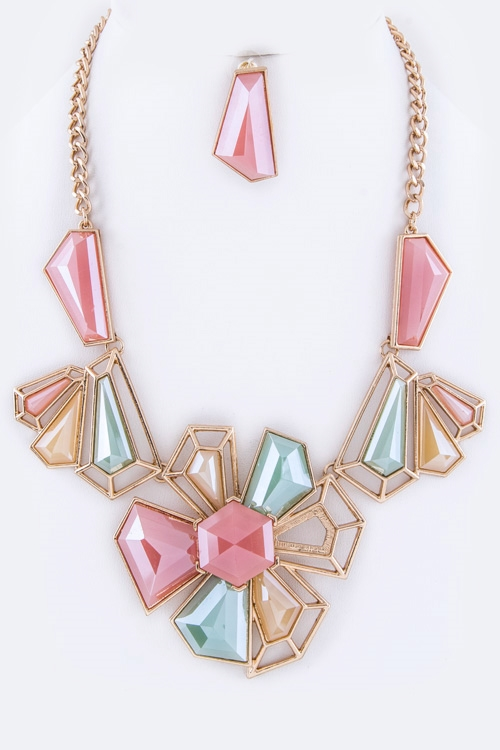 Geo Flower Necklace Set - orangeshine.com