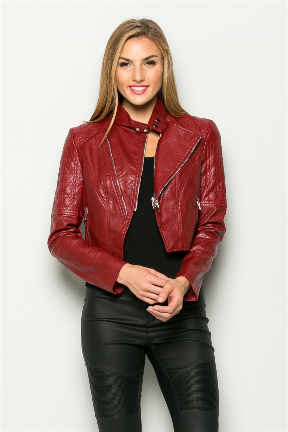 ZIPPER FRONT LEATHER JACKET - orangeshine.com
