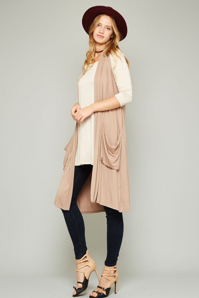 DRAPED LONG VEST CARDIGAN - orangeshine.com