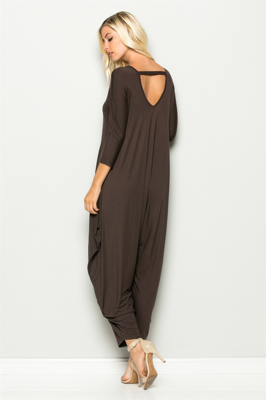 BACK CROSS HAREM JUMPSUIT - orangeshine.com