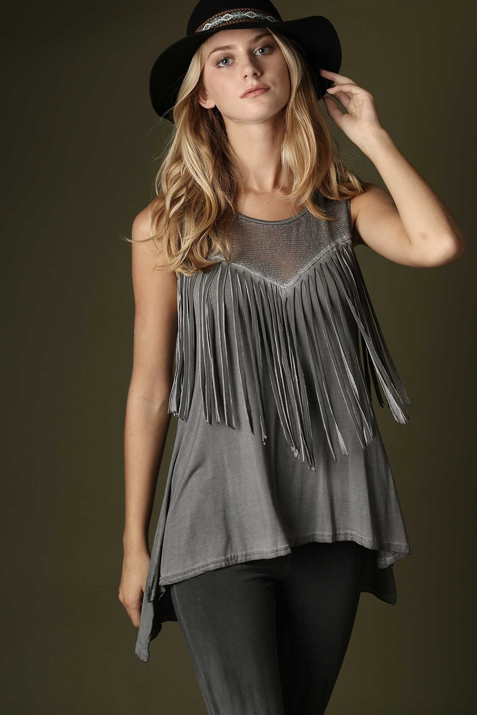 Sleeveless fringe top - orangeshine.com