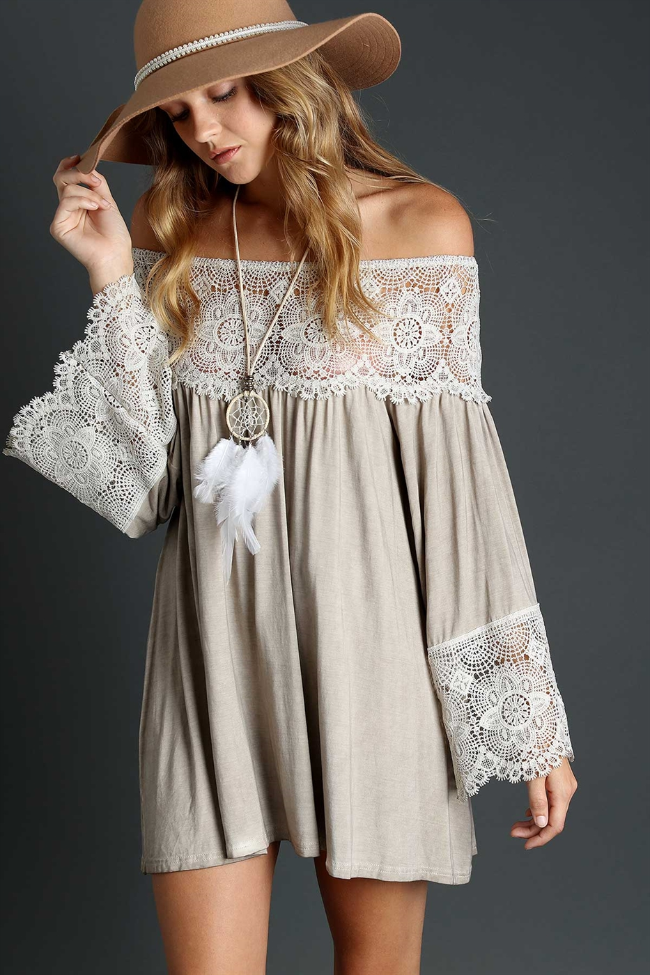 Off shoulder with lace tunic - orangeshine.com