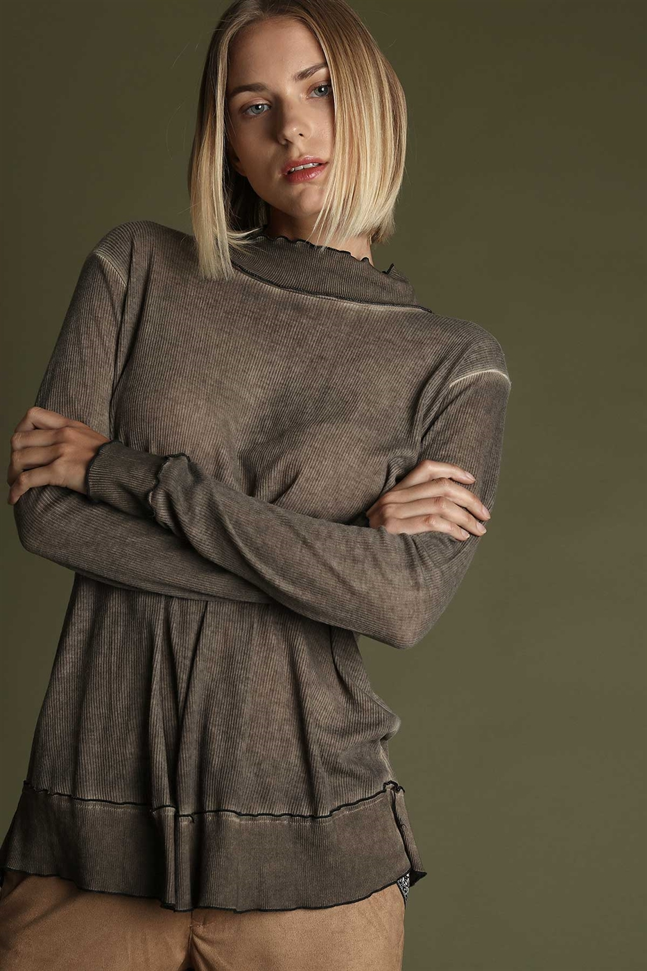 TURTLE NECK RIBBED KNIT - orangeshine.com