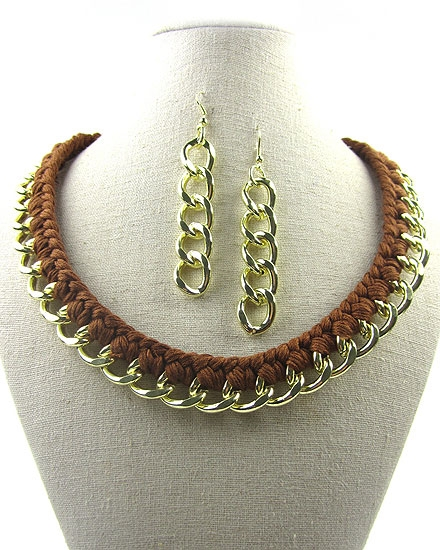 Brown Chain Choker - orangeshine.com