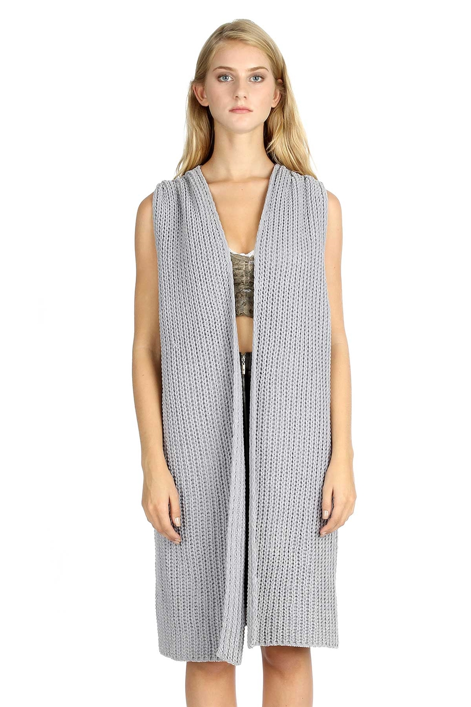Coverable knit vest top - orangeshine.com