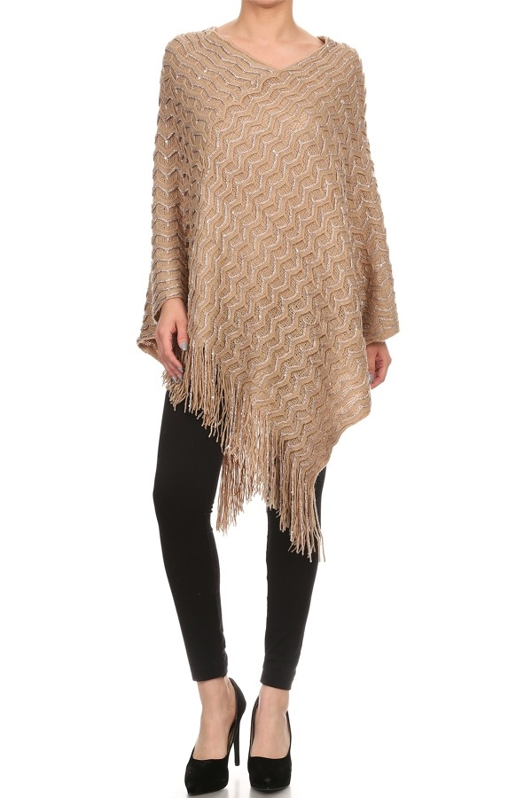 PONCHO SHINNY  WITH FRINGE - orangeshine.com