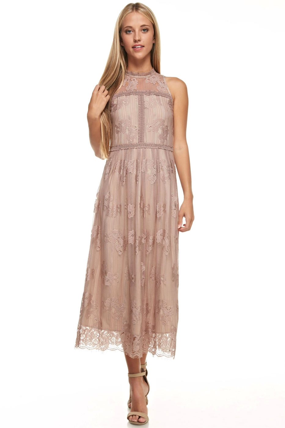 High Neck Lace Midi Dress - orangeshine.com