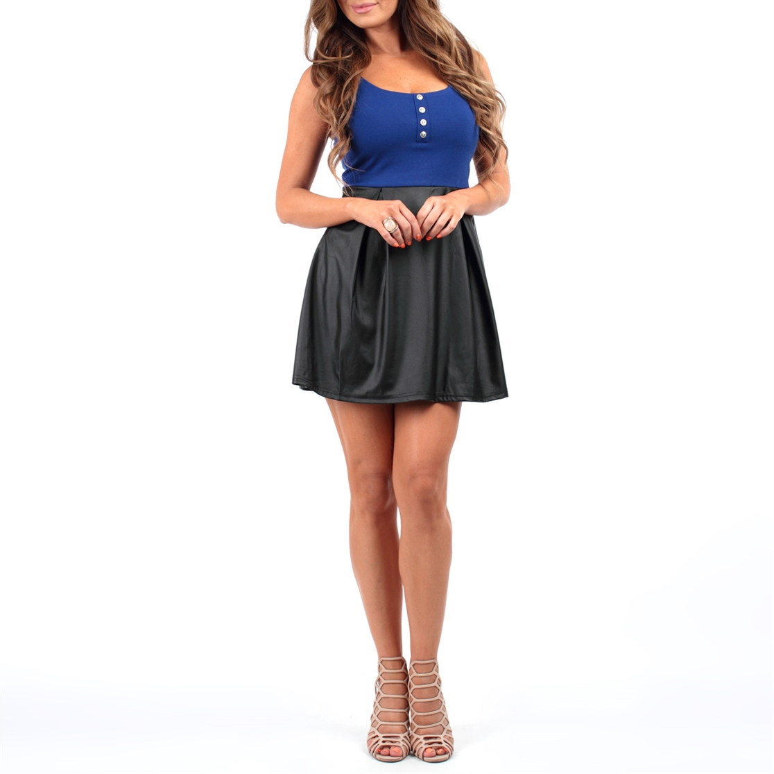 SLEEVELESS PU SHORT DRESS - orangeshine.com