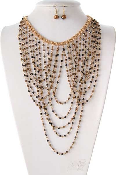 FACETED BEAD DROP NECKLACE - orangeshine.com