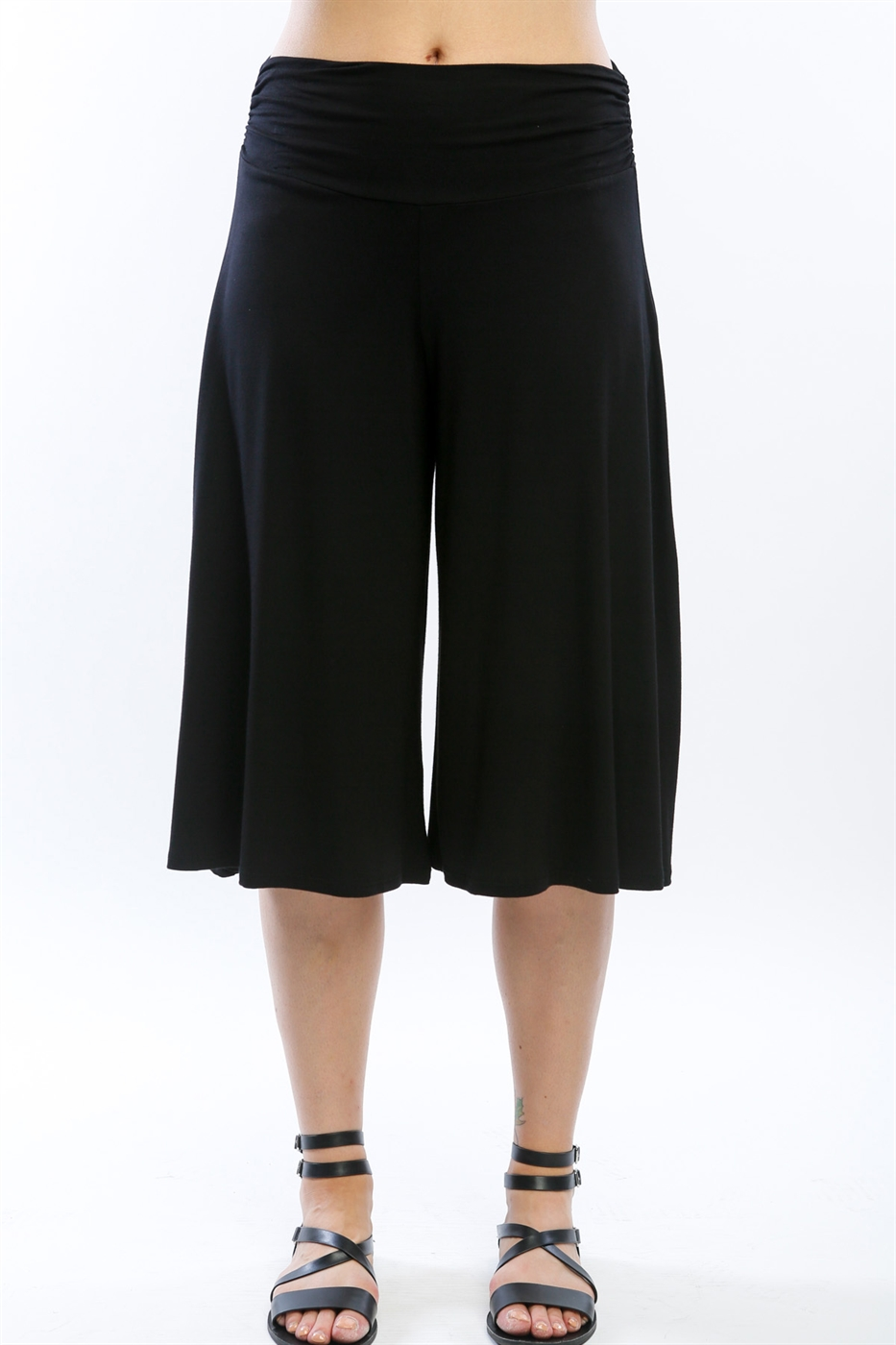 Flared Stretch Culotte Bottoms - orangeshine.com