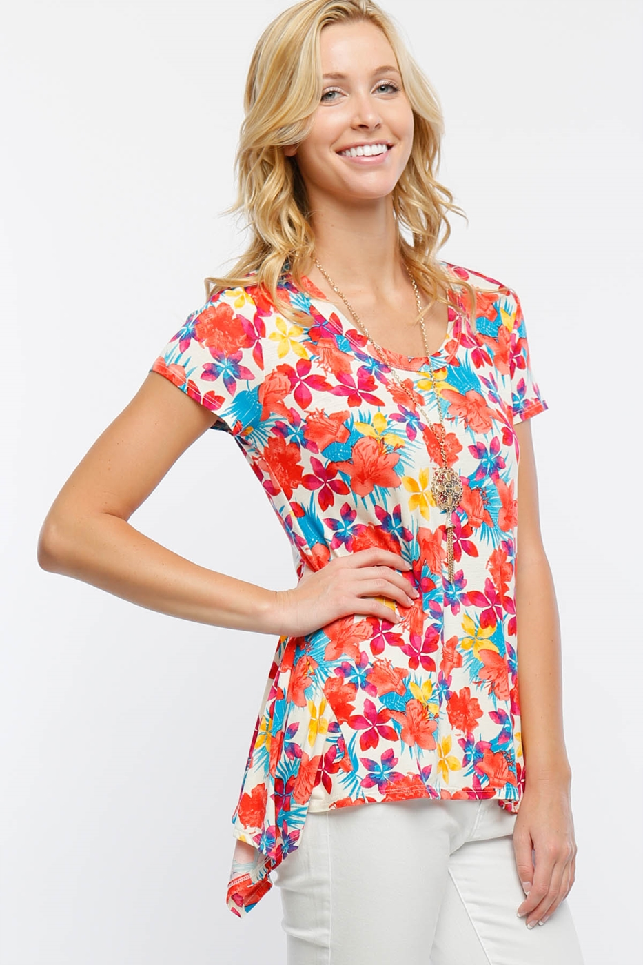 Floral Short Sleeve Top - orangeshine.com