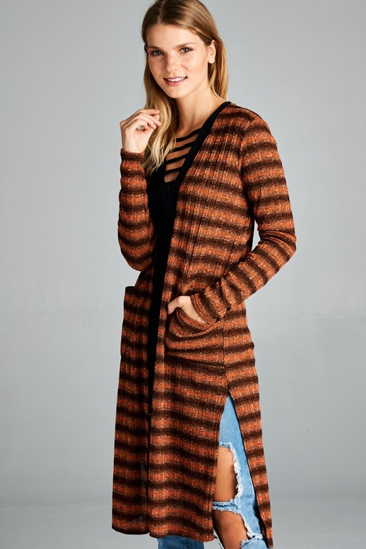 STRIPE LONG CARDIGAN - orangeshine.com