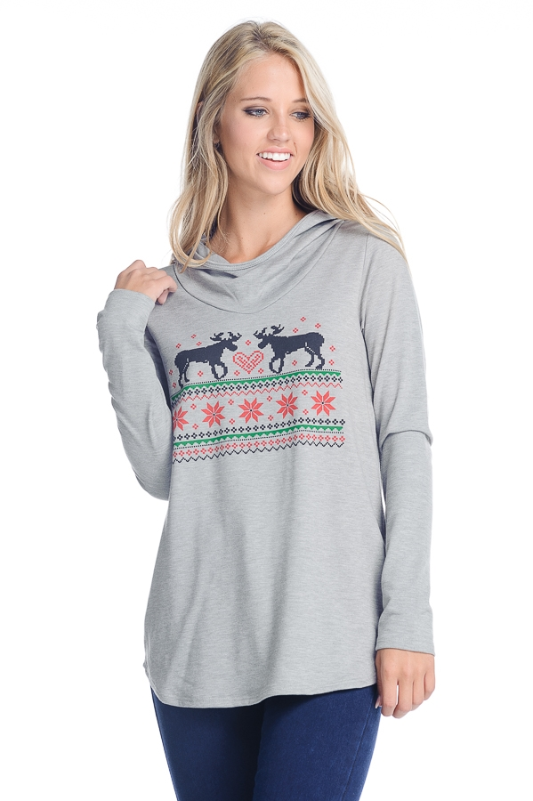 Christmas Deer Hooded top - orangeshine.com