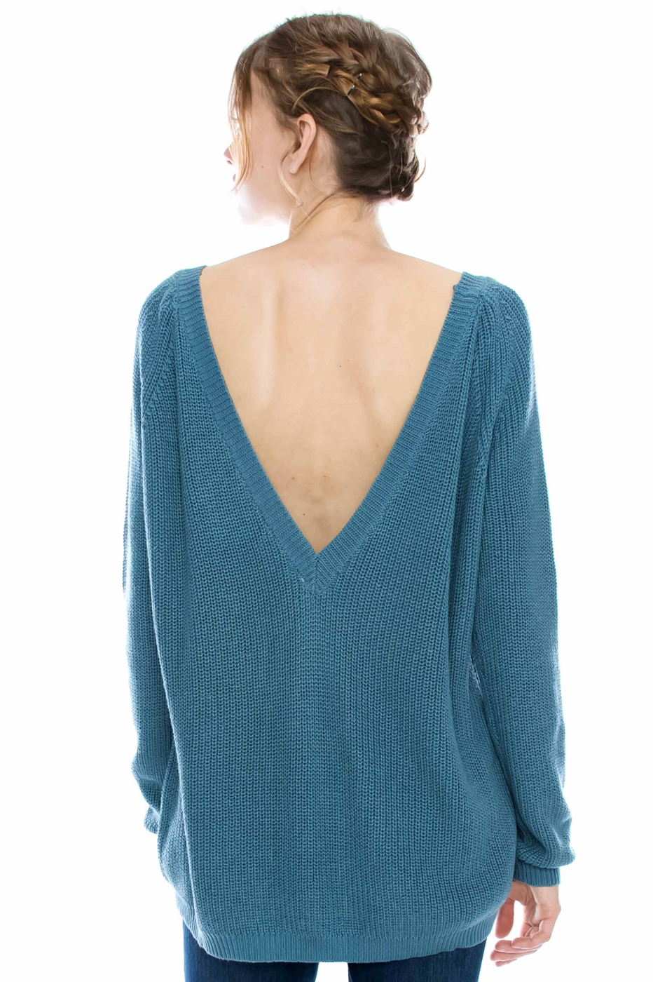 SCOOP BACK SWEATER - orangeshine.com