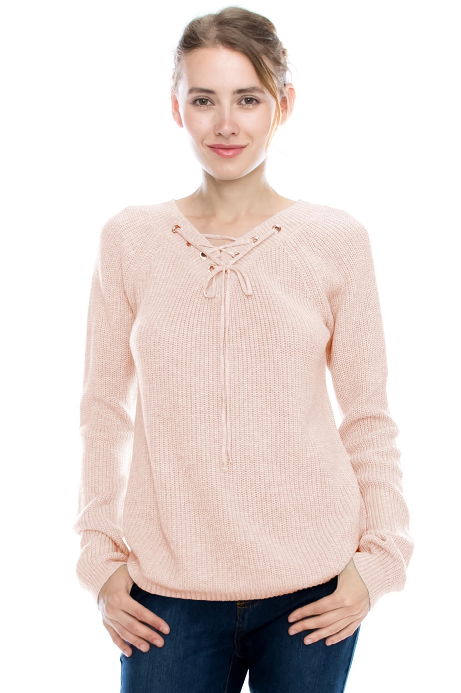 LACE UP SWEATER TOP - orangeshine.com